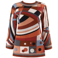 EMILIO PUCCI c.1960's Brown Multicolor Op Art Signature Print Shirt Blouse