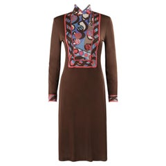 EMILIO PUCCI c.1960's Brown Op Art Signature Print Sheath Mock Neck Midi Dress