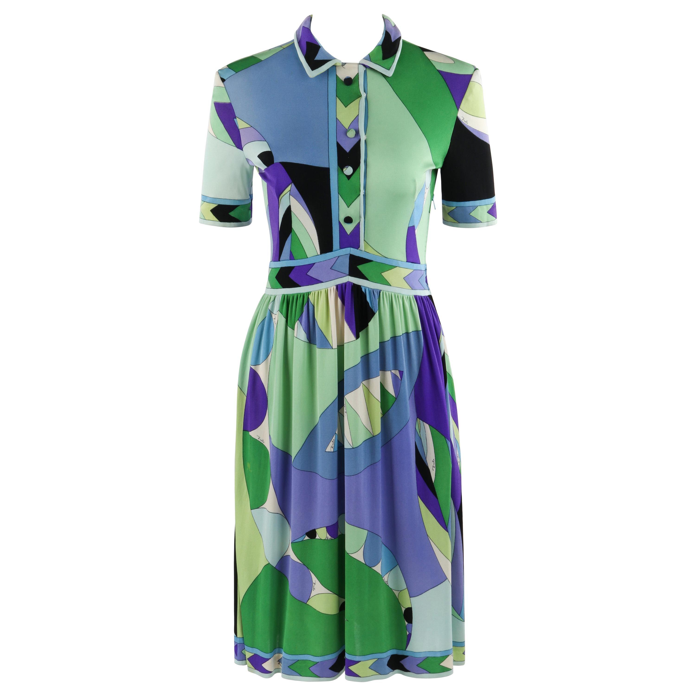EMILIO PUCCI c.1960's Button Front Signature Geometric SS Silk Day Dress