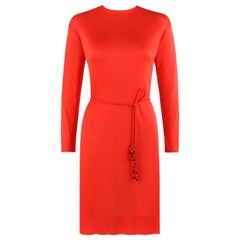 EMILIO PUCCI c.1960's Coppola E Toppo Belted Scarlet Red Silk Jersey Dress