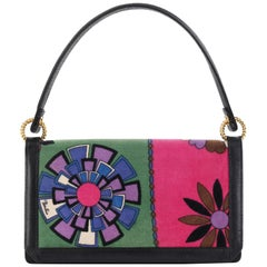 EMILIO PUCCI c.1960's Floral Signature Print Multi-Color Velvet Leather Handbag