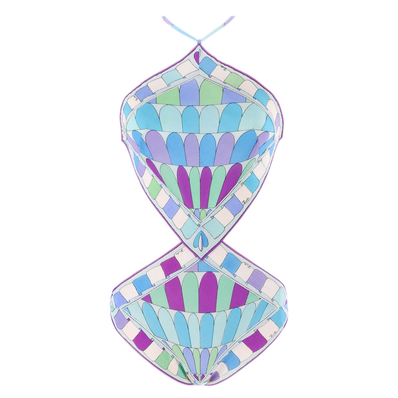 Emilio Pucci c.1960's Geometric Signature Print Diamond Cut One-Piece Swimsuit