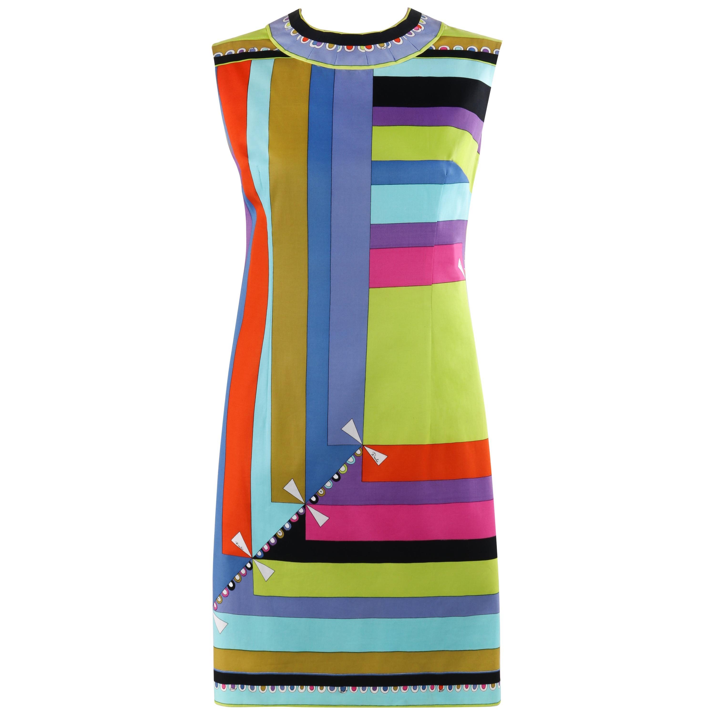 """EMILIO PUCCI c.1960's """"Colletti"""" Print Multicolor Square Sleeveless Shift Dress"""