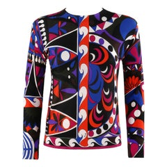 EMILIO PUCCI c.1960's Geometric Wave Abstract Signature Print Silk Jersey Top