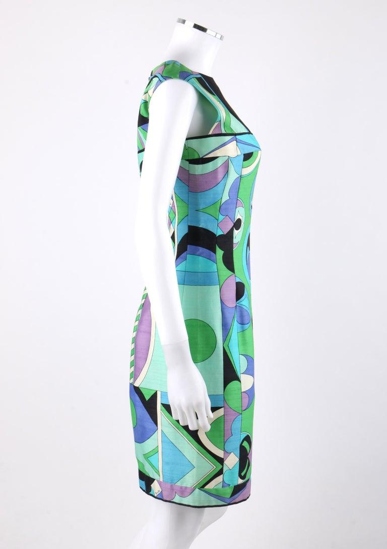 Women's EMILIO PUCCI c.1960's Green Blue Op Art Signature Print Sheath Dress For Sale