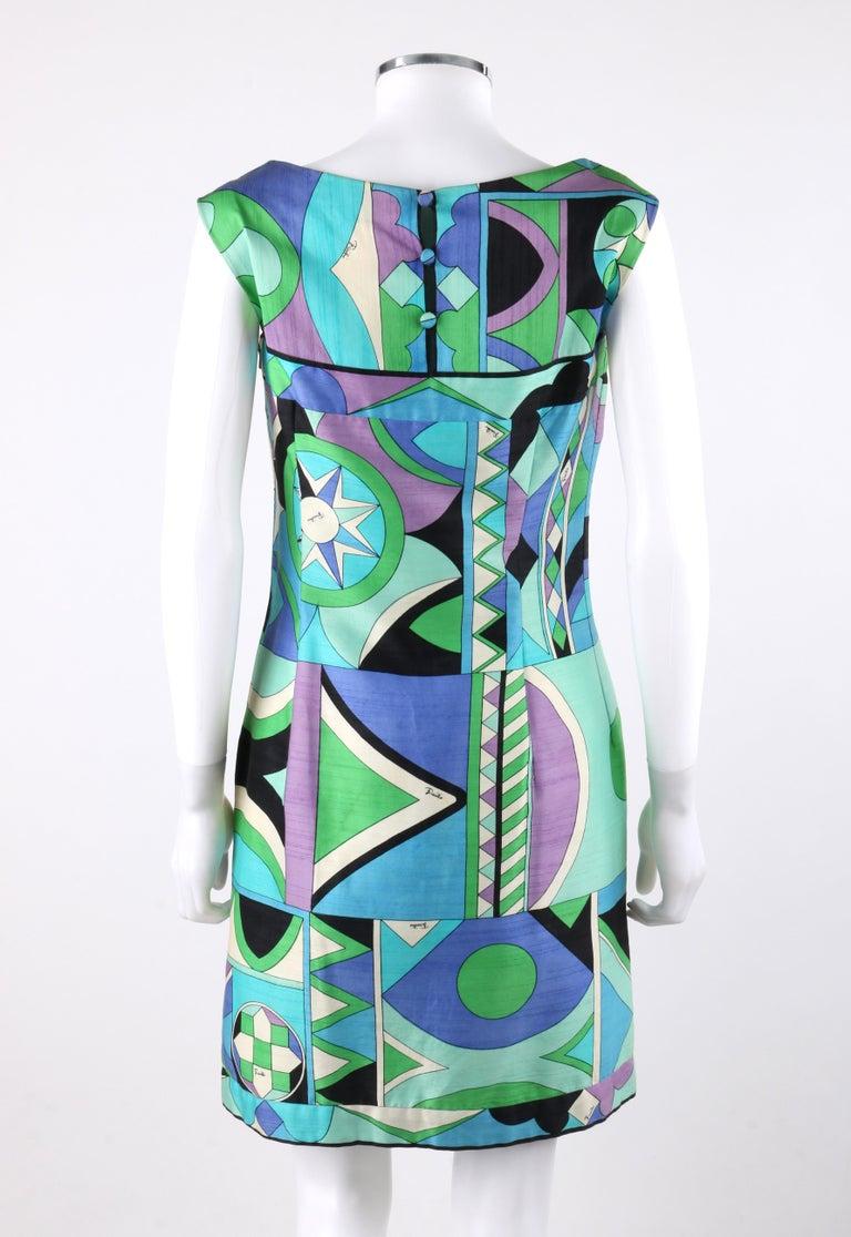 EMILIO PUCCI c.1960's Green Blue Op Art Signature Print Sheath Dress For Sale 1