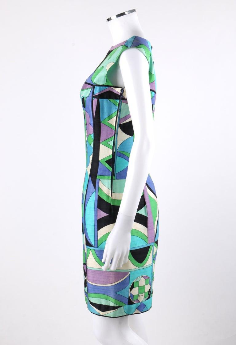 EMILIO PUCCI c.1960's Green Blue Op Art Signature Print Sheath Dress For Sale 2