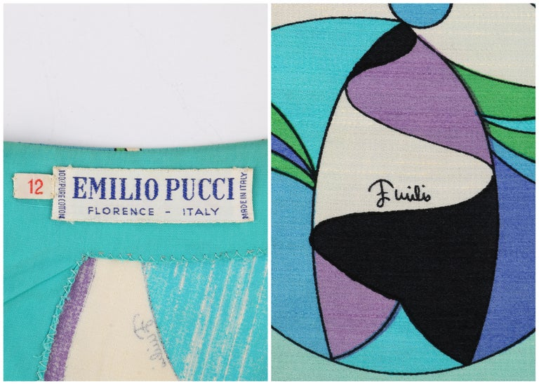 EMILIO PUCCI c.1960's Green Blue Op Art Signature Print Sheath Dress For Sale 3