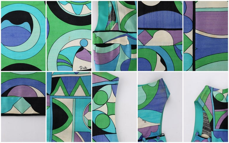 EMILIO PUCCI c.1960's Green Blue Op Art Signature Print Sheath Dress For Sale 4