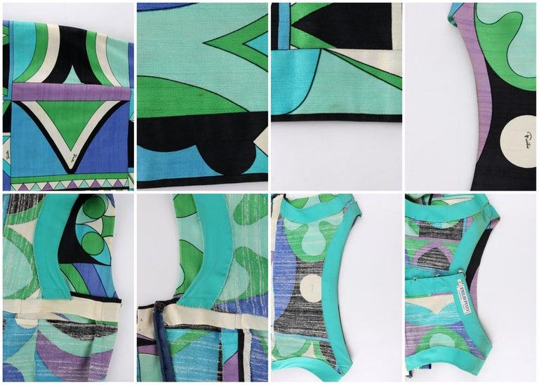 EMILIO PUCCI c.1960's Green Blue Op Art Signature Print Sheath Dress For Sale 5