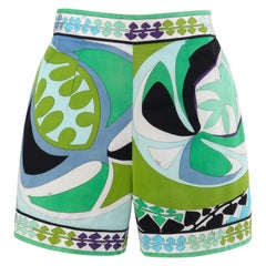 EMILIO PUCCI c.1960's Green Multi-Color Signature Print Cotton Shorts