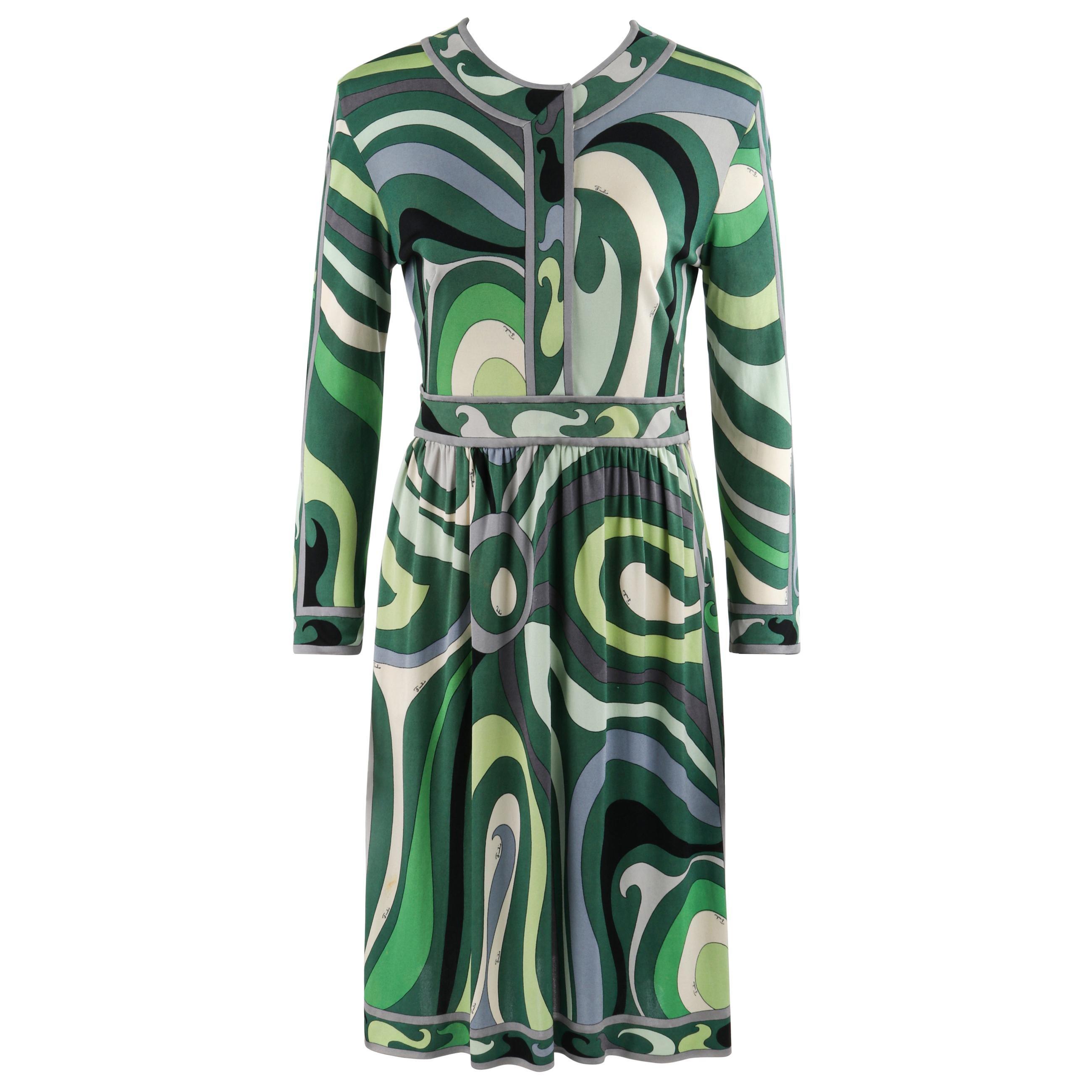 EMILIO PUCCI c.1960's Green Signature Op Art Long Sleeve Silk Jersey Shift Dress