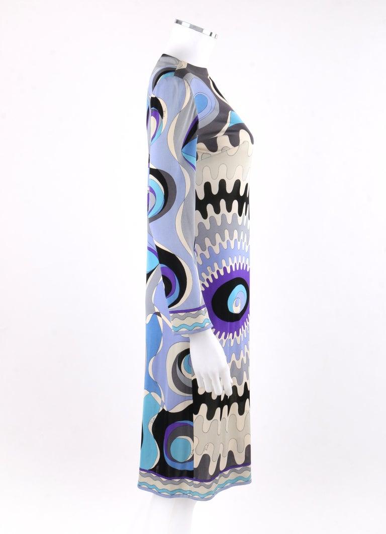 Gray EMILIO PUCCI c.1960's Mod Op Art Signature Print Silk Jersey Knit Wedge Dress For Sale