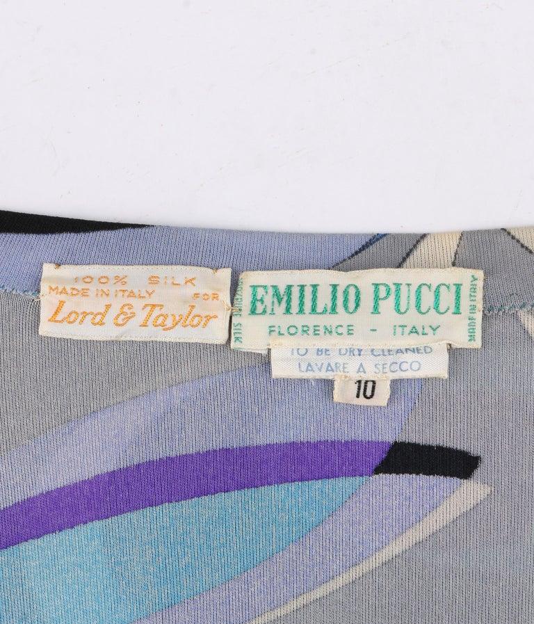 EMILIO PUCCI c.1960's Mod Op Art Signature Print Silk Jersey Knit Wedge Dress For Sale 2