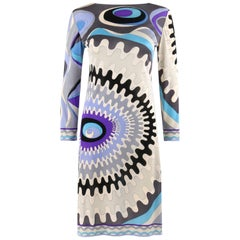 EMILIO PUCCI c.1960's Mod Op Art Signature Print Silk Jersey Knit Wedge Dress