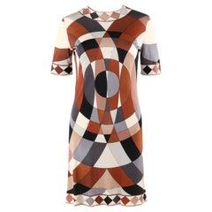 EMILIO PUCCI c.1960's Multi-color Op Art Signature Print Silk Jersey Shift Dress