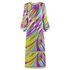 EMILIO PUCCI c.1960's Multi-color Op Art Signature Print Silk Maxi Dress