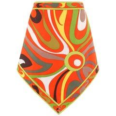 EMILIO PUCCI c.1960's Multi-Color Signature Print Cotton Scarf Hem A-line Skirt
