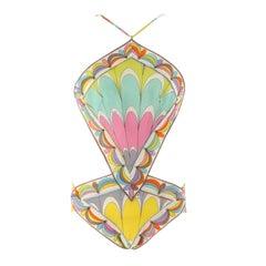 EMILIO PUCCI c.1960's Multi-Color Signature Print Diamond Cut One-Piece Swimsuit