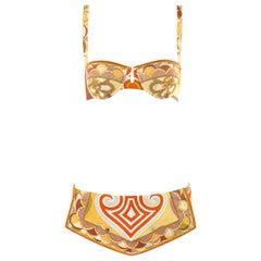 EMILIO PUCCI c.1960's Multi-color Signature Print Two Piece Bikini Swimsuit