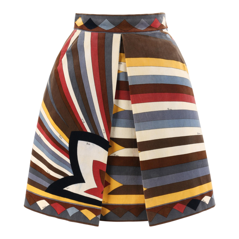 EMILIO PUCCI c.1960's Multi-Color Velvet Signature Print A-Line Pleated Skirt