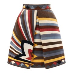 EMILIO PUCCI c.1960's Multi-Color Velvet Signature Print A-Line Pleated Skirt