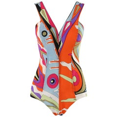 EMILIO PUCCI c.1960's Multicolor Abstract Op Art Mesh Zip-Up One Piece Swimsuit