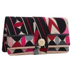 EMILIO PUCCI c.1960's Multicolor Geometric Op Art Logo Silk Foldover Clutch Bag