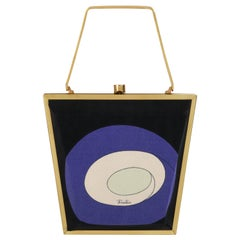 EMILIO PUCCI c.1960s Multicolor Signature Op Art Structured Silk Metal Box Purse