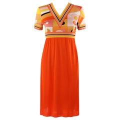 EMILIO PUCCI c.1960's Orange Geometric Op Art Signature Print Silk Empire Dress