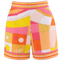 EMILIO PUCCI c.1960's Orange Geometric Signature Print Cotton Shorts