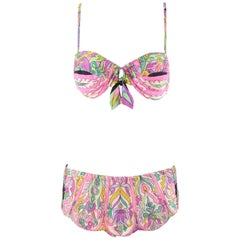 EMILIO PUCCI c.1960's Pink Multicolor Signature Print Two Piece Bikini Swimsuit