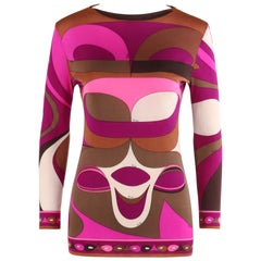 EMILIO PUCCI c.1960's Pink Op Art Signature Print Silk Long Sleeve Top