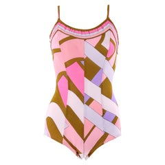 EMILIO PUCCI c.1960's Pink Signature Print One-Piece Bathing Swimsuit