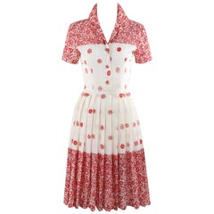 EMILIO PUCCI c.1960's Red White Floral Button Up Pleated Short Sleeve Day Dress