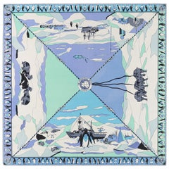 "EMILIO PUCCI c.1960's ""The Antarctican Society"" Antarctic Motif Print Silk Scarf"