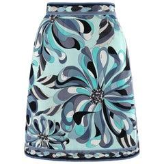 EMILIO PUCCI c.1960's Turquoise Floral Op Art Signature Print A-Line Skirt