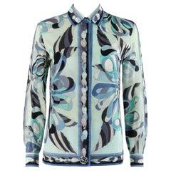 EMILIO PUCCI c.1960's Turquoise Floral Signature Print Button Front Shirt Top