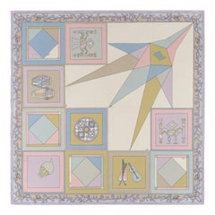 """EMILIO PUCCI c.1965 """"Gemini IV"""" Braniff Instrumental Signature Print Silk Scarf"""