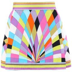 EMILIO PUCCI c.1965 Multicolor Geometric Signature Print A-Line Mini Skirt