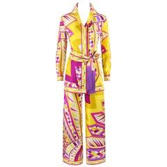 """EMILIO PUCCI c.1968 2pc """"Fontana"""" Silk Fringe Blouse Pant Belt Leisure Suit Set"""