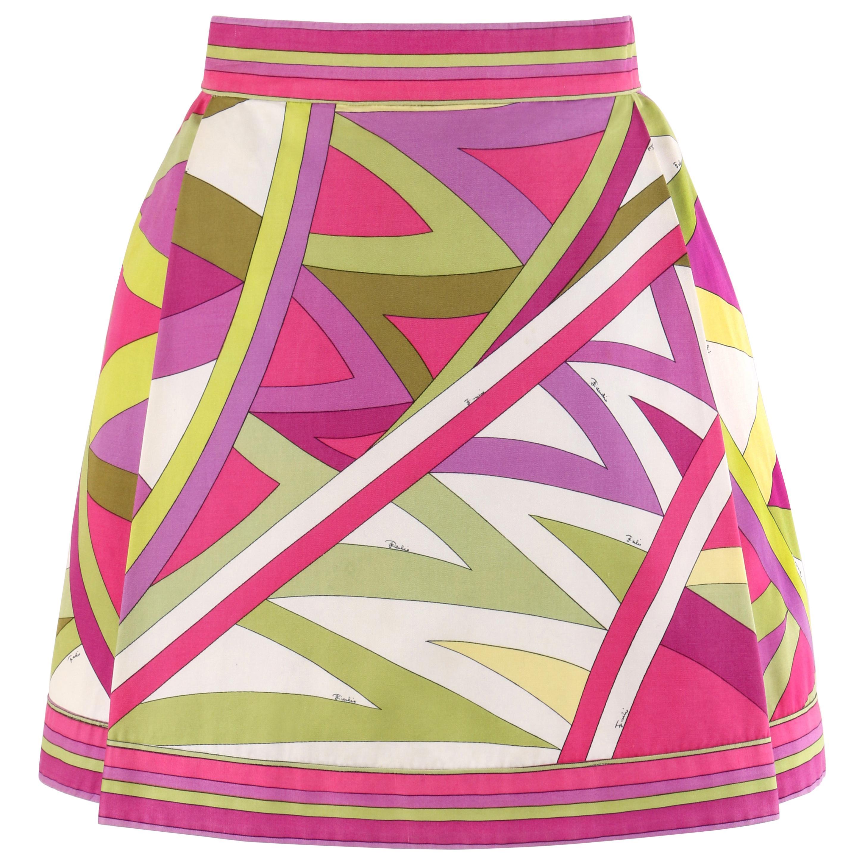 """EMILIO PUCCI c.1969 """"Arcate"""" Signature Print Pink Op Art A-Line Mini Skirt"""