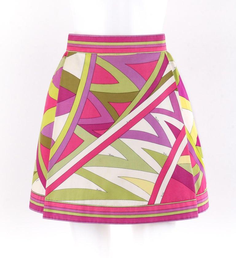 "separation shoes f3a7d 404dd EMILIO PUCCI c.1969 ""Arcate"" Signature Print Pink Op Art A-Line Mini Skirt"