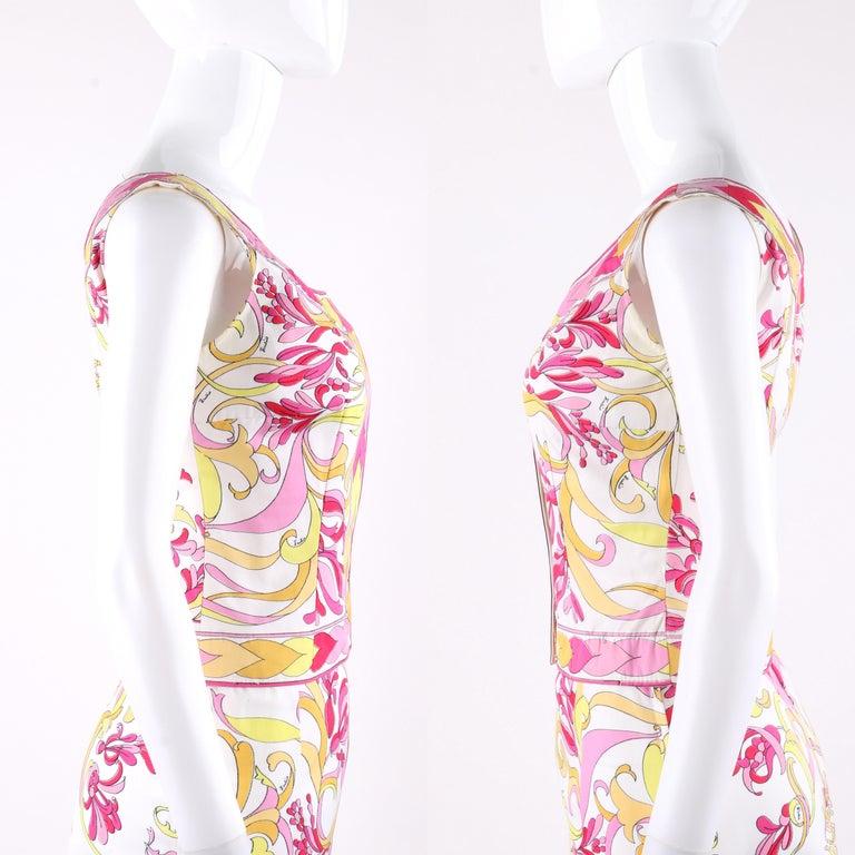 Beige EMILIO PUCCI c.1970's 2pc Multi-Color Signature Print Tank Top Skirt Dress Set For Sale