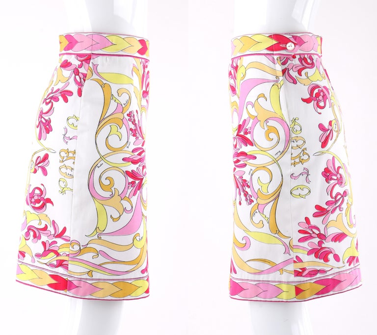 EMILIO PUCCI c.1970's 2pc Multi-Color Signature Print Tank Top Skirt Dress Set For Sale 1