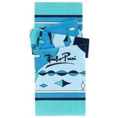 EMILIO PUCCI c.1970's Aqua Blue Abstract Signature Diamond Print Beach Towel Vtg