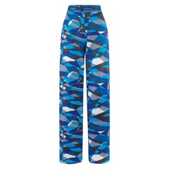 EMILIO PUCCI c.1970s Blue Wave Op Art Signature Print High Waist Wide Leg Pants