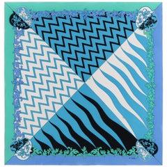 """EMILIO PUCCI c.1970's """"Lupa"""" Signature Blue Green Geometric Print Silk Scarf"""