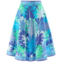 EMILIO PUCCI c.1970's Multi-color Signature Leaf Print Flared Skirt