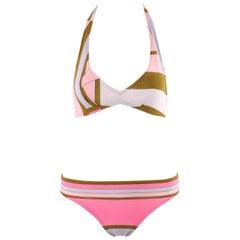 EMILIO PUCCI c.1970s Multicolor Geometric Stripe Triangle Halter Bikini Swimsuit